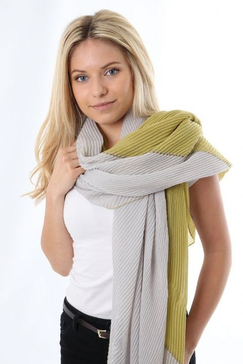 MUSTARD AND GREY PLEAT SCARF